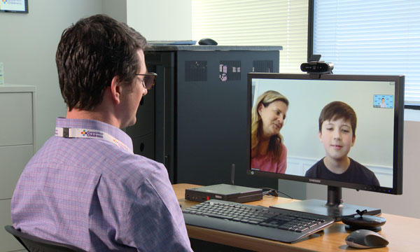 doctor performing telehealth visit